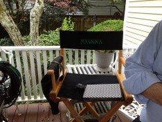 """This is Julia Ormond's chair, it says """"JOANNA"""". COOL RIGHT? The back says """"Witches of East End' but I didn't get a shot of it."""