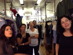 Here's the team watching Patrick Heusinger try on a shirt. Sorry I can't show you Patrick, but believe me he looked GOOD!